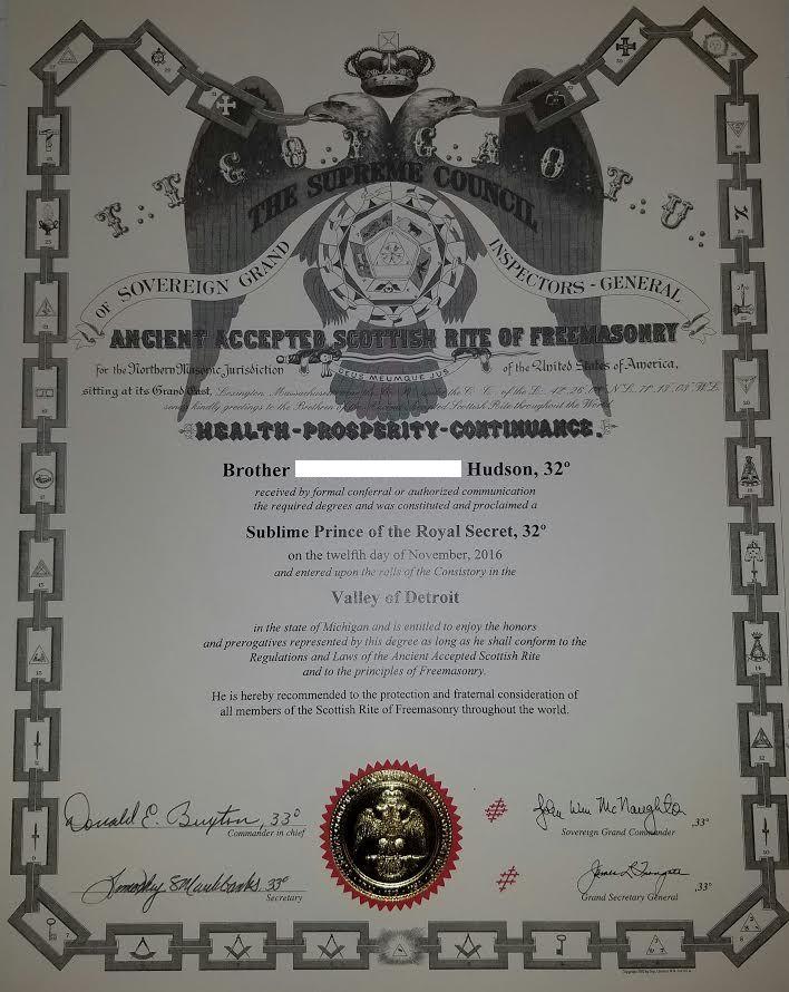 My 32nd Degree Certificate   My Freemasonry   Freemason Information
